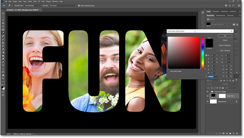 Choosing a new background color from Photoshop's Color Picker.
