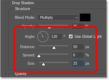 Setting the angle, distance and size of the drop shadow.