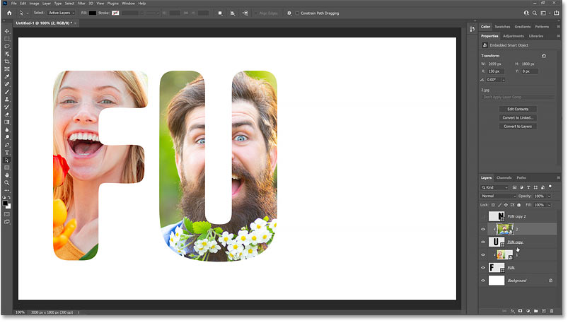 The second image appears inside the letter after creating the clipping mask.