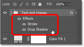The layer effects are listed below the group in Photoshop's Layers panel