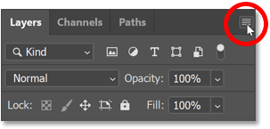 Clicking the Layers panel menu icon.