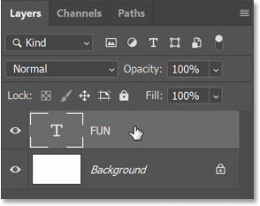 Photoshop's Layers panel showing the type layer above the Background layer.