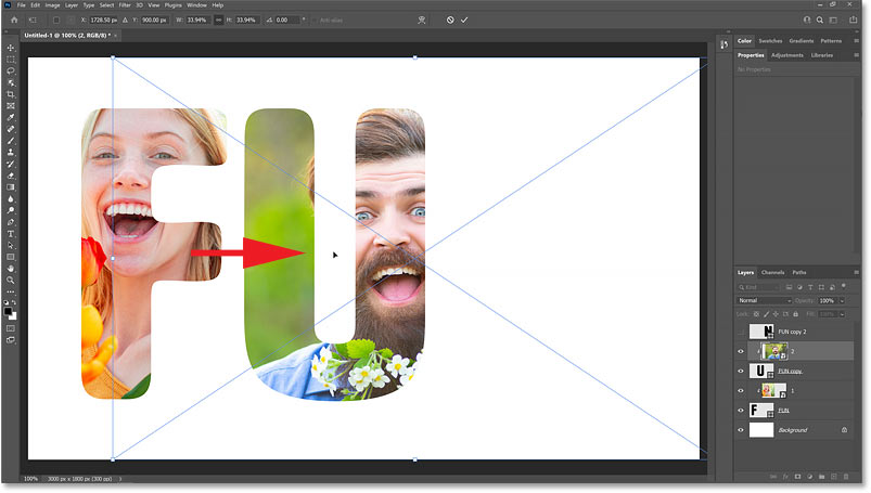 Dragging the second image into position within the letter.