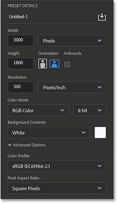 The settings in Photoshop's New Document dialog box.