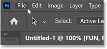 Opening the File menu in Photoshop's Menu Bar.