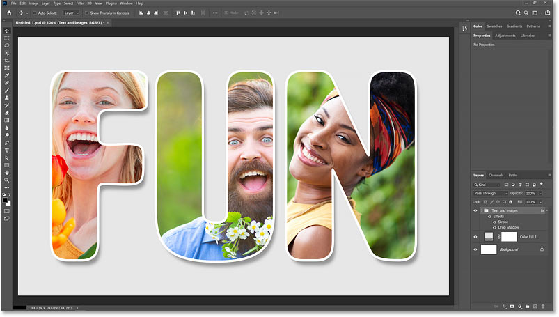 How to places images in text with Photoshop