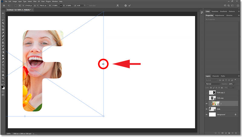 Resizing the image within the letter.