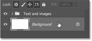 Selecting the Background layer in Photoshop's Layers panel