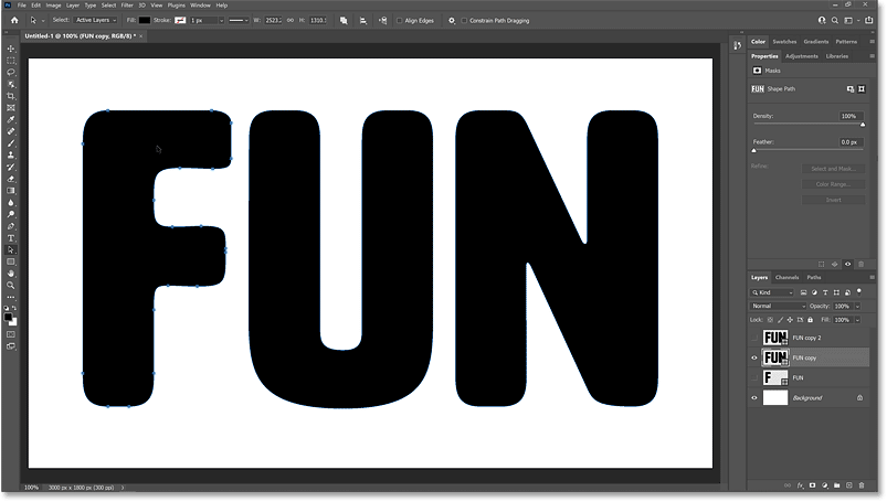 Selecting the first letter on the second shape layer.