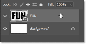Selecting the shape layer in Photoshop's Layers panel