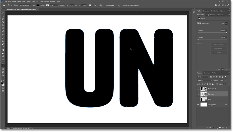 Selecting the third letter on the second shape layer.