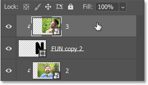 Selecting the top image layer in Photoshop's Layers panel