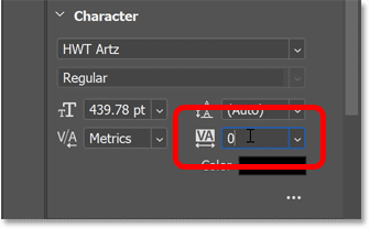 Clicking inside the Tracking box in Photoshop's Properties panel.