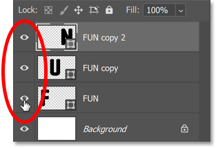 Turning all three shape layers on in Photoshop's Layers panel.
