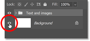 Turning off the Background layer in Photoshop's Layers panel