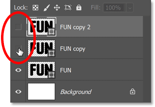 Turning off the shape layers above the original.