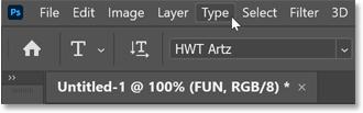 Opening the Type menu in Photoshop's Menu Bar.