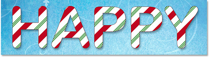 The candy cane letters with a stroke around them
