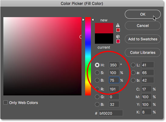 Choosing a candy cane red from the Color Picker in Photoshop