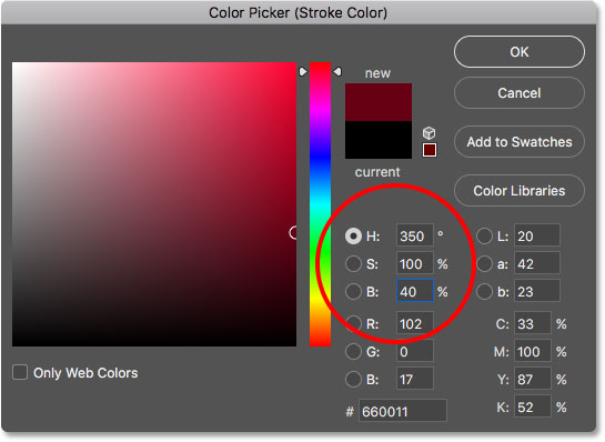 Choosing red for the stroke color in the Color Picker