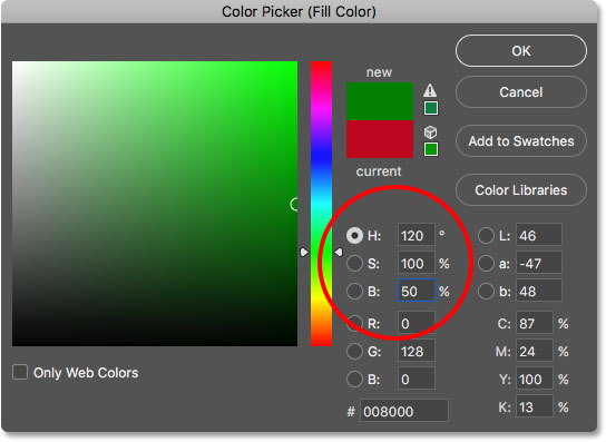 Choosing green from the Color Picker in Photoshop