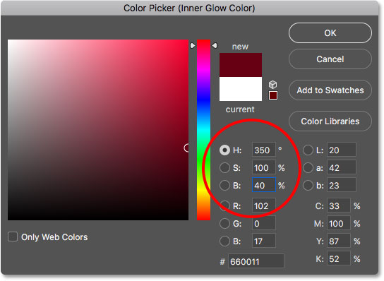 Choosing the new color for the Inner Glow layer style
