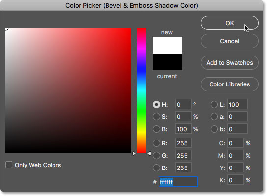 Choosing white in the Color Picker