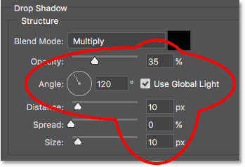 The Drop Shadow options in the Layer Style dialog box