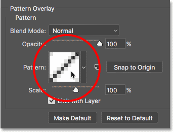 Clicking the swatch in the Pattern Overlay options in Photoshop