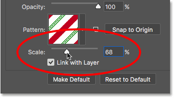 Lowering the Scale value to shrink the candy cane pattern