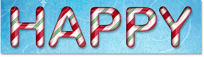 Candy cane letters created in Photoshop using layer styles