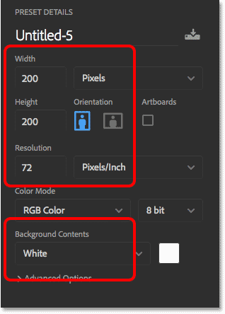 The new Photoshop document settings