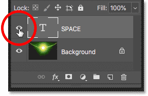Turning on the Type layer in the document in Photoshop