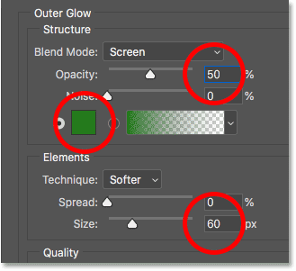The Outer Glow options for the text in Photoshop