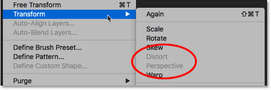 Photoshop's Distort and Perspective transform options are unavailable.