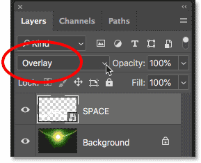 Changing the blend mode of the text to Overlay in Photoshop