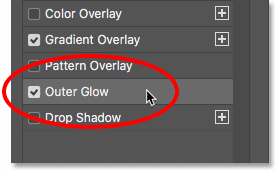 Adding an Outer Glow layer effect in Photoshop's Layer Style dialog box