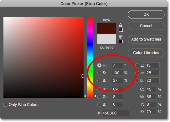 Setting the left gradient color to dark red