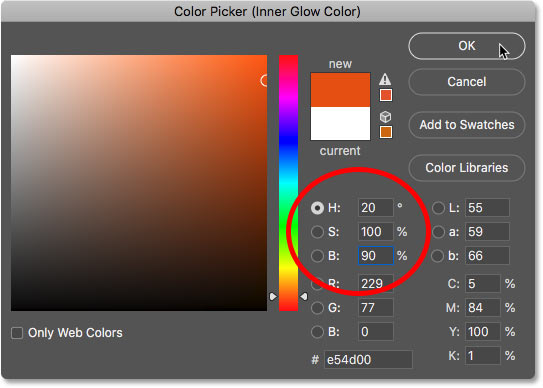 Setting the Inner Glow color to orange in the Color Picker