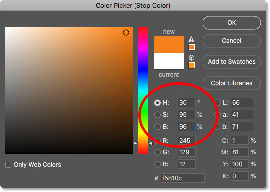 Setting the right gradient color to orange