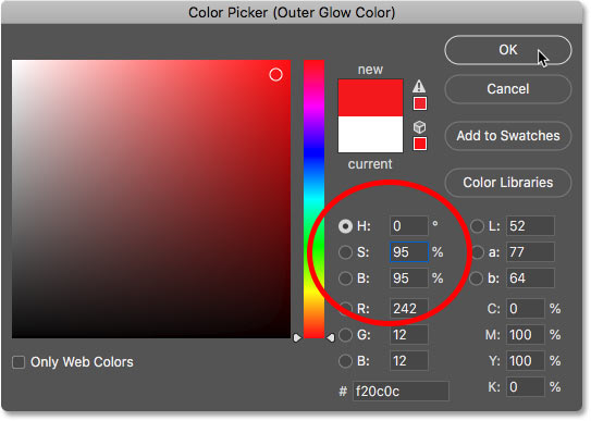 Setting the Outer Glow color to bright red in Photoshop