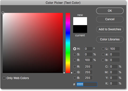 Setting the type color to white in the Color Picker in Photoshop