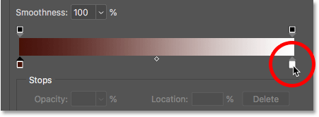 Double-clicking the right color stop for the gradient