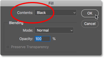 Setting the Contents option to Black in the Fill dialog box in Photoshop