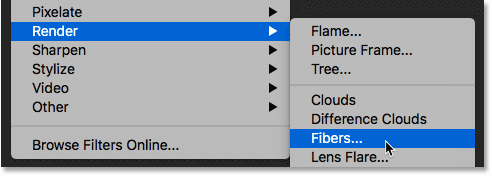 Selecting Photoshop's Fibers filter