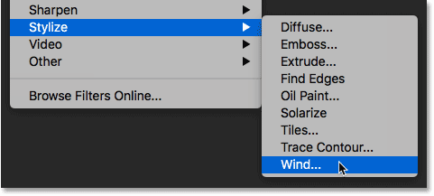 Selecting the Wind filter from the Filter menu in Photoshop