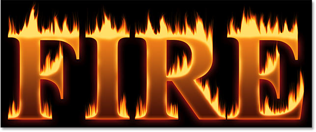The effect after blending the text into the flames in Photoshop