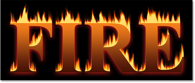 The fire text effect with the Outer Glow layer effect applied