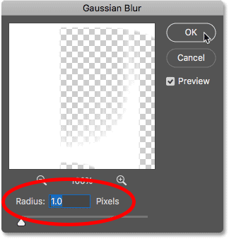 Blurring the Wind filter effect using the Gaussian Blur filter in Photoshop
