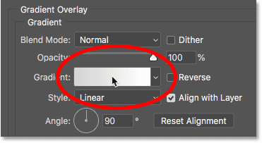 Clicking the gradient color swatch in the Gradient Overlay options